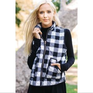 Black and White Quilted Vest